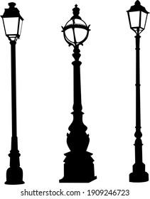 Flat design vector illustration of vintage street lamps.