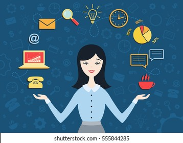 Flat design vector illustration of young business woman, personal assistant or hard working secretary