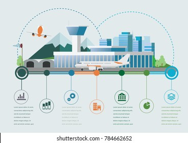 Flat design vector info graphic illustration with airport and time line