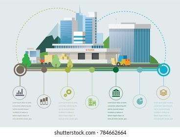 Flat design vector info graphic illustration with store market and timeline.