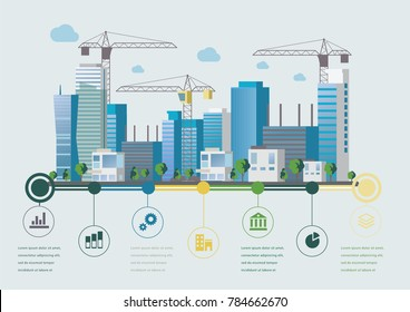 Flat design vector info graphic illustration with constructing urban landscape and cranes.