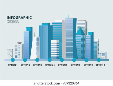 Flat design vector info graphic illustration  with urban landscape and city buildings.