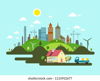 Flat Design Vector Island with Family House and City Skyline on Background