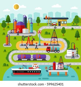 Flat design vector landscape illustration of oil and gas extraction and transportation map. Including rig, pumping station, delivery, storage, factory, gas station, road, cargo tank, tanker, workers.