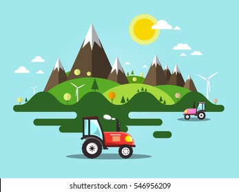 Flat Design Vector Landscape with Tractor on Field, Mountains and Hills. Ecology Farm. Nature Scene.