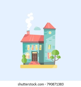 Flat design vector nature cartoon landscape illustration with colorful cottage house, trees, smoke and cloud.