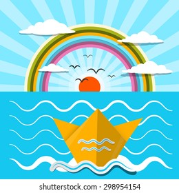 Flat Design Vector Paper Boat and Ocean with Rainbow
