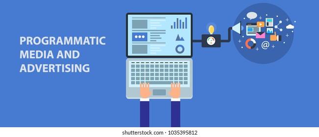 Flat design vector programmatic media advertising, B2B advertising, digital advertising