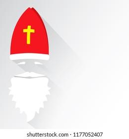 Flat Design Vector Saint Nicholas on white background. Greeting Card. Flat design vector illustration.