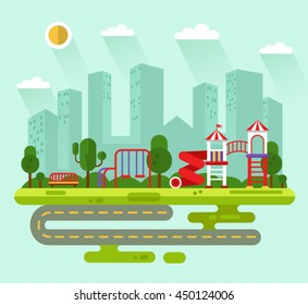 Flat design vector summer landscape illustration of city park with kids playground and equipment with swings, slides and tube, bench, road, skyscrapers, clouds, sun. Amusement park for children.
