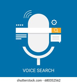 Flat design vector for voice search, search by voice application with icons isolated on blue background