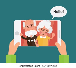 Flat Design - Video calling and talking with grandparents via internet on tablet