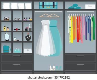 Flat Design walk in closet, interior design, Clothing store, Boutique indoor with cosmetics, woman fashion conceptual Vector illustration.