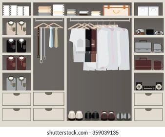 walk closet. Flat Design Walk In Closet, Interior Design, Clothing Store, Boutique Indoor Of Men\u0027s Closet