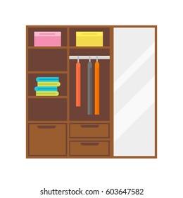 Flat design wardrobe of cupboard icon isolated vintage lifestyle retro larder with shelves and storage box interior design vector illustration.