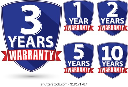 Flat design warranty label set with red ribbon, vector illustration