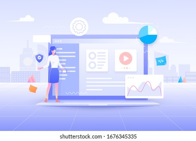 Flat design of Web development, User interface application design, coding and programming on laptop concept with programming language and program code and layout on screen vector illustration.