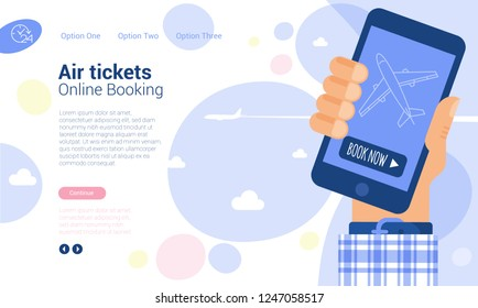 Flat design web page and application vector template for online, internet and mobile airticket booking.