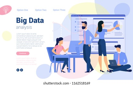 Flat design  web page template for Big Data analysis, business strategy and analytics. Trendy vector  illustration concept for website and mobile app.