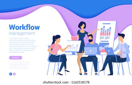 Flat design  web page template for teamwork, business strategy and analytics. Trendy vector  illustration concept for website and mobile app.