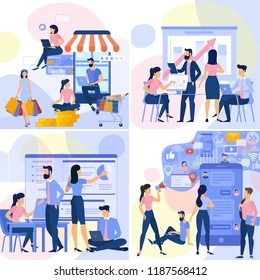 Flat design  web page template for online shopping, digital marketing,  business strategy and analytics. Trendy vector  illustration concept for website and mobile app.