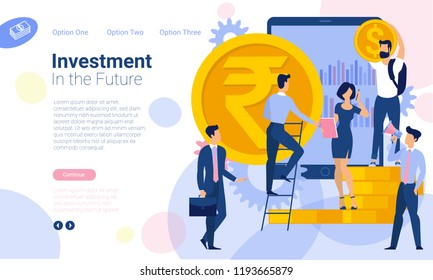 Flat design  web page template for financial and investment, business strategy and analytics. Trendy vector  illustration concept for website and mobile app.