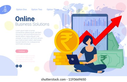 Flat design  web page template for financial solutions and online bankind, business strategy and analytics. Trendy vector  illustration concept for website and mobile app.