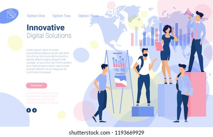 Flat design  web page template for innovative solutions and online bankind, business strategy and analytics. Trendy vector  illustration concept for website and mobile app.