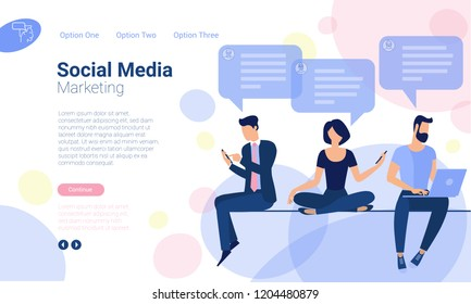 Flat design  web page template for social media digital marketing, business strategy and analytics. Trendy vector  illustration concept for website and mobile app.