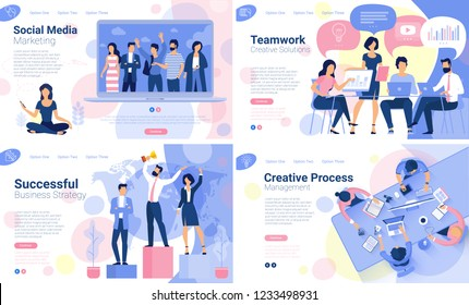 Flat design  web page template set for creative business  process and  business strategy. Trendy vector  illustration concept for website and mobile app.