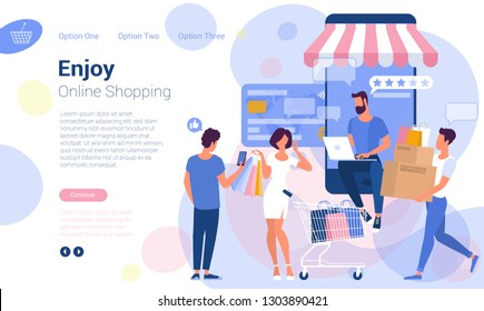 Flat design  web page template for online sopping, store, retail, with ready to animation young man and woman characters. Trendy vector  illustration concept for website and mobile app.