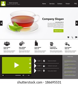 Flat Design / Website Template with photorealistic tea cup and mint.