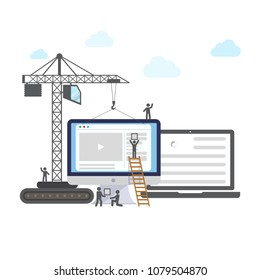 Flat design of website under construction, web page building process with figure stick people. Vector illustration.