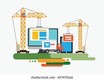 Flat design of website under construction, web page building process. Concept vector illustration.