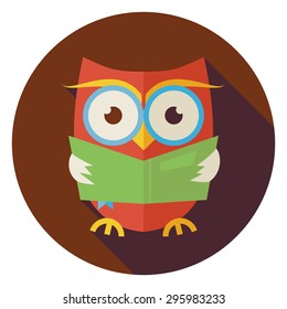 Flat Design Wisdom Bird Owl Reading Book Circle Icon with Long Shadow. Back to School and Education Vector illustration. Flat Style Clever Colorful Owl Bird Reading the Book