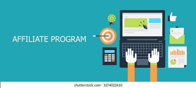 Flat design working on laptop, affiliate program, digital marketing strategy vector illustration