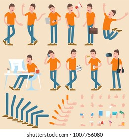 Flat design young man character to compouse your scenes and animation. Various gestures and poses vector design element set.