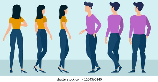 Flat design young man and woman ready to animation characters to compouse your scenes and animation. Back and side views. Various gestures and poses vector design element set.