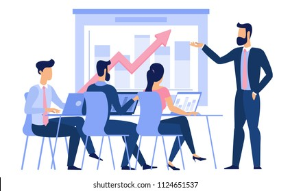 Flat design young man and woman g ready to animation characters to compouse your scenes and animation. Business briefing, studebts at college classroom lecture, creative teamwork illustration.