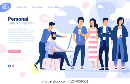 Flat design young man and woman  community personal data protection and management  web page concept.