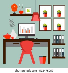 Flat design of Zen home office layout. Relaxing work environment.)