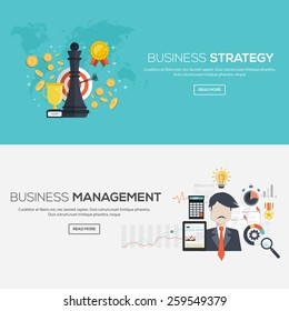 Flat designed banners for Business strategy and Business management. Vector