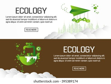 Flat designed banners for ecology. vector
