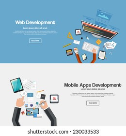 Flat designed banners forweb development and mobile apps development. Vector