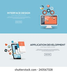 Flat designed banners for interface design and application development. Vector