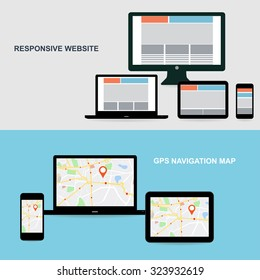 Flat designed banners for responsive website and GPS Navigation map on on media technology devices