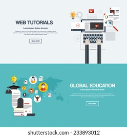 Flat designed banners for web tutorials and mobile global education. Vector