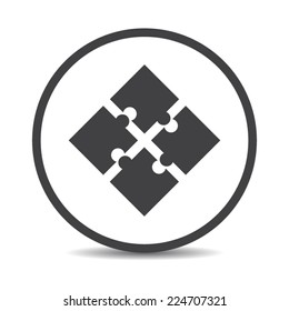 Flat designed round puzzle icon. Business concept. Idea. Logic