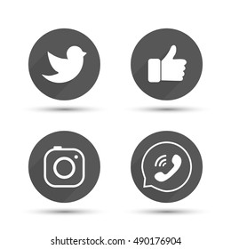 Flat designed vector icons of hipster camera, like hand symbol, thumbs up, bird and phone for social media, interfaces, websites vector illustration