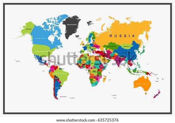 Flachdesigns Weltkarte mit Ländernamen Vektorgrafik Stock